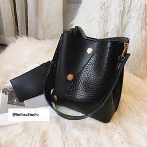 Brand new black leather handbag